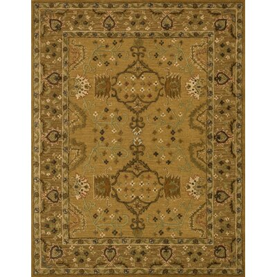 Kegler Hand-Hooked Gold Area Rug Rug Size: Rectangle 36 x 56