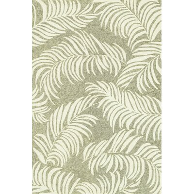 Tropez Hand-Hooked Sage/Ivory Indoor/Outdoor Area Rug Rug Size: 36 x 56