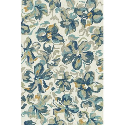 Tropez Hand-Hooked Beige/Blue Indoor/Outdoor Area Rug Rug Size: 5 x 76