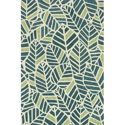 Tropez Hand-Hooked Blue/Green Indoor/Outdoor Area Rug Rug Size: 23 x 39