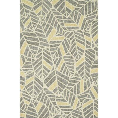 Kirshe Hand-Hooked Gray/Yellow Indoor/Outdoor Area Rug Rug Size: Rectangle 76 x 96