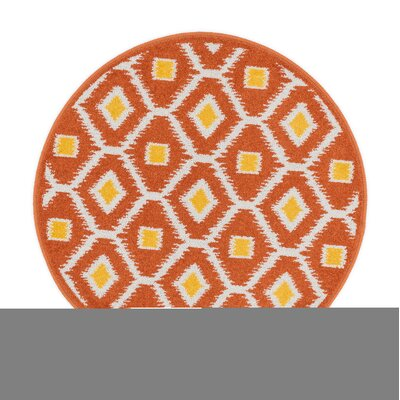 Terrace Orange/Lemon Area Rug Rug Size: Round 3