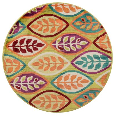 Isabelle Green/Orange Area Rug Rug Size: Round 3