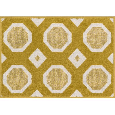 Terrace Citron/Ivory Area Rug Rug Size: 18 x 26