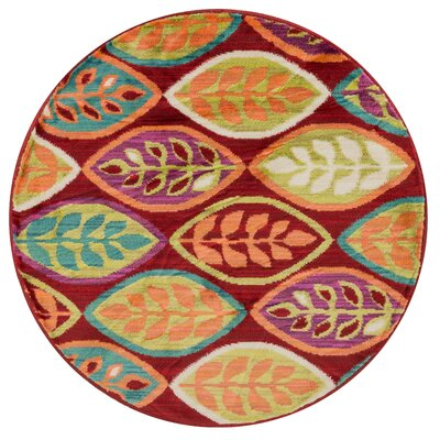 Nanava Red/Orange Area Rug Rug Size: Round 3
