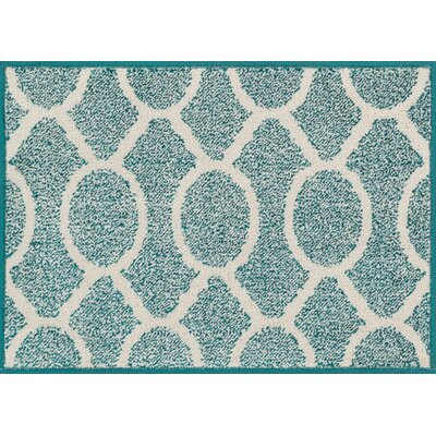 Terrace Teal/Ivory Area Rug Rug Size: 18 x 5