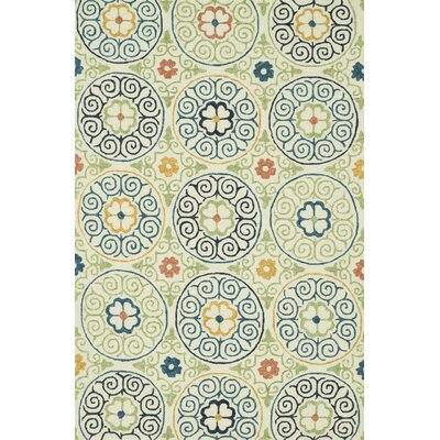 Tropez Hand-Hooked Ivory/Blue Indoor/Outdoor Area Rug Rug Size: Round 710