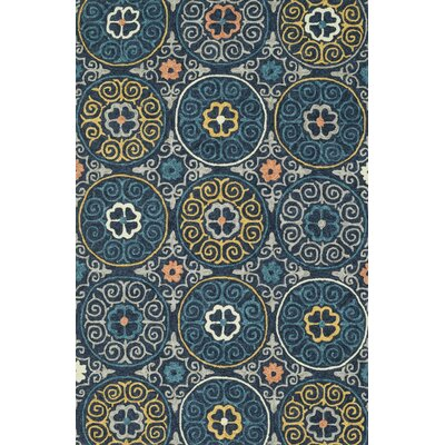 Tropez Hand-Hooked Navy Indoor/Outdoor Area Rug Rug Size: 36 x 56