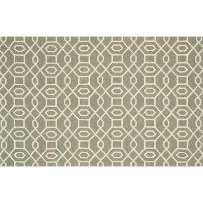 Ventura Hand-Hooked Gray/Ivory Indoor/Outdoor Area Rug Rug Size: 76 x 96