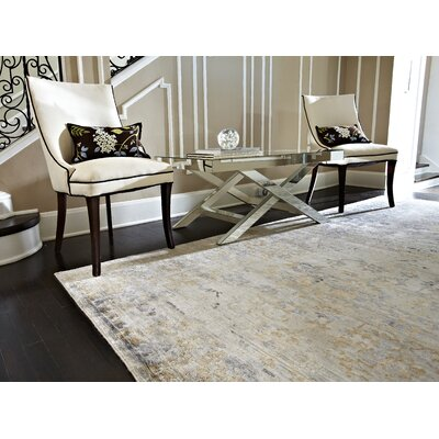 Mirage Hand-Knotted Blue/Beige Area Rug Rug Size: Rectangle 56 x 86