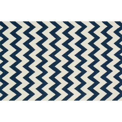Venice Beach Hand-Hooked Blue/Ivory Indoor/Outdoor Area Rug Rug Size: 36 x 56