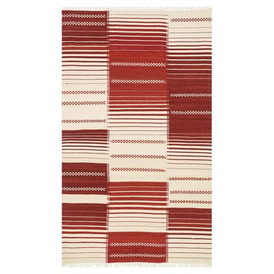 Beller Red/Cream Area Rug Rug Size: Rectangle 76 x 96
