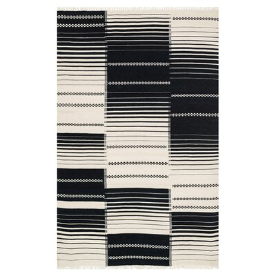 Rio Hand Woven Wool Black Area Rug Rug Size: 7'6