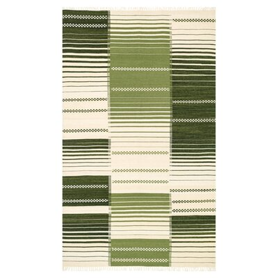 Beller Green/Ivory Area Rug Rug Size: Rectangle 76 x 96