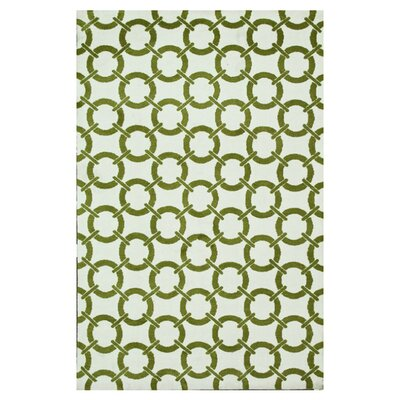 Dane Green/Ivory Area Rug Rug Size: Rectangle 76 x 96