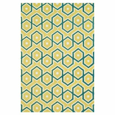 Maziarz Hand-Tufted Blue/Yellow Area Rug Rug Size: Rectangle 36 x 56