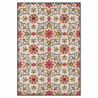 Keffer Hand-Hooked Beige/Red Area Rug Rug Size: Rectangle 36 x 56