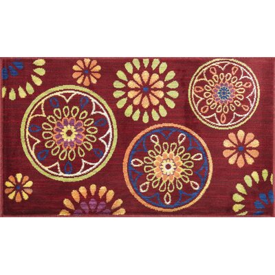 Nanava Red Area Rug Rug Size: Rectangle 22 x 39