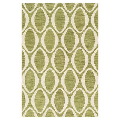 Durgin Hand-Tufted Green/Ivory Area Rug Rug Size: Rectangle 36 x 56