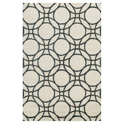 Durgin Hand-Tufted Ivory/Black Area Rug Rug Size: Rectangle 5 x 76