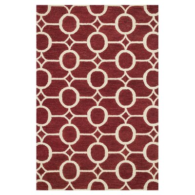Taylor Hand-Tufted Red/Whte Area Rug Rug Size: 36 x 56