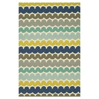 Ventura Hand-Hooked Blue/Gray Indoor/Outdoor Area Rug Rug Size: 76 x 96