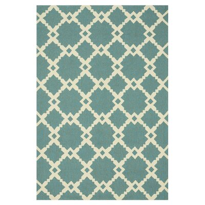 Ventura Turquoise/Ivory Indoor/Outdoor Area Rug Rug Size: 36 x 56
