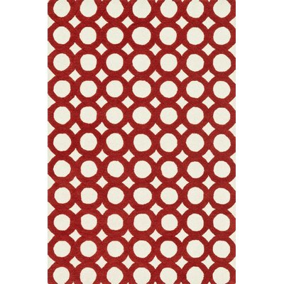 Maziarz Hand-Tufted Red/Ivory Area Rug Rug Size: Rectangle 23 x 39