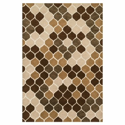 Weston Graphic Hand-Tufted Beige/Brown Area Rug Rug Size: 36 x 56