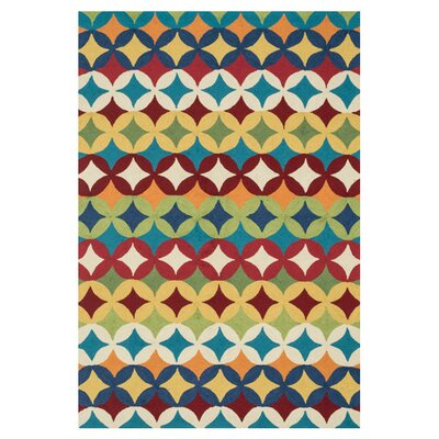 Summerton Hand-Hooked Blue/Red Area Rug Rug Size: Slice 23 x 39