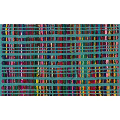 Choate Hand-Woven Turquoise Area Rug Rug Size: Rectangle 23 x 39