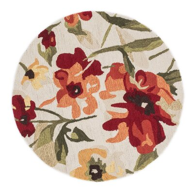 Summerton Hand-Hooked Ivory/Red/Green Area Rug Rug Size: Round 3