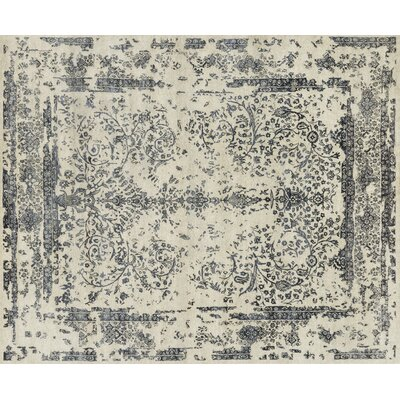 Pearl Hand-Knotted Heather Gray/Navy Area Rug Rug Size: 56 x 86