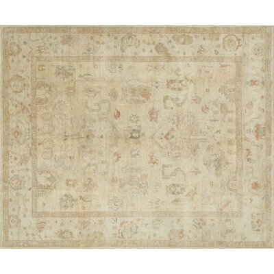 Abelard Hand-Knotted Beige Area Rug Rug Size: Rectangle 86 x 116