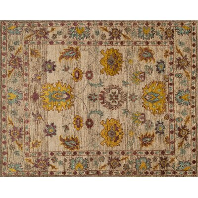 Empress Hand-Knotted Beige/Yellow Area Rug Rug Size: Rectangle 96 x 136