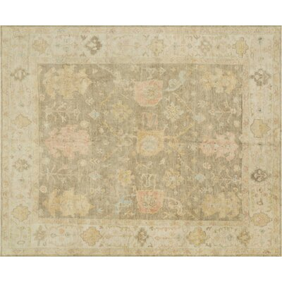 Abelard Hand-Knotted Moss Gray/Stone Area Rug Rug Size: Rectangle 4 x 6