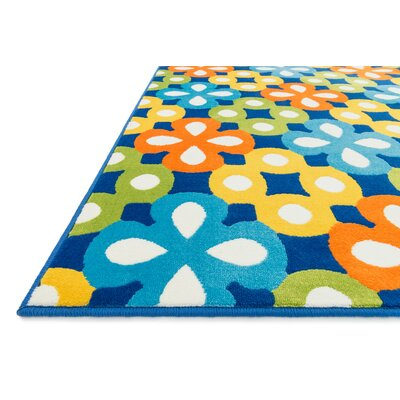 Stacy Blue Geometric Area Rug Rug Size: Round 33