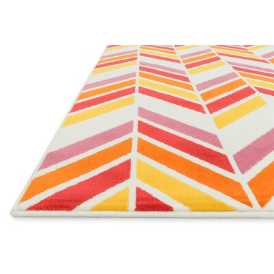 Stacy Ivory/Pink Area Rug Rug Size: Rectangle 44 x 67