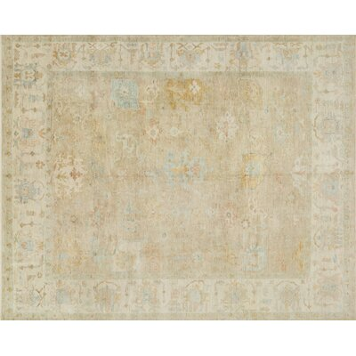 Abelard Hand-Knotted Beige Area Rug Rug Size: Rectangle 96 x 136