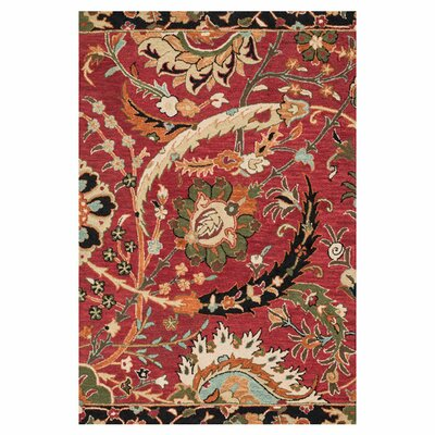 Keffer Hand-Hooked Red Area Rug Rug Size: Rectangle 93 x 13