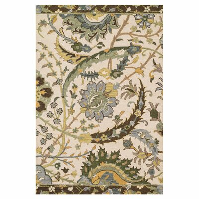 Keffer Hand-Hooked Beige/Brown Area Rug Rug Size: Rectangle 5 x 76