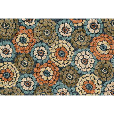 Gabriella Hand-Woven Blue/Green/Orange Area Rug Rug Size: 23 x 39