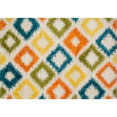 Cosma Ivory/Green/Orange Area Rug Rug Size: 52 x 77