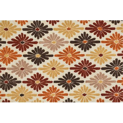 Gabriella Hand-Woven Ivory/Spice Area Rug Rug Size: 23 x 39