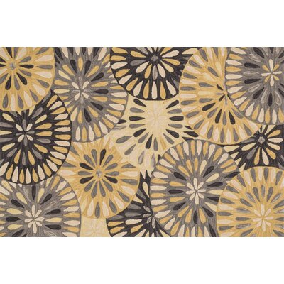 Gabriella Hand-Woven Gray/Gold Area Rug Rug Size: Round 3