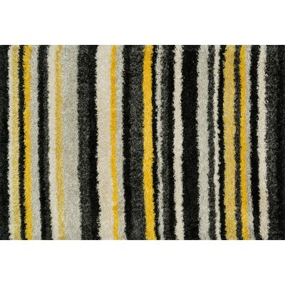 Nalder Black/Yellow Area Rug Rug Size: Rectangle 52 x 77