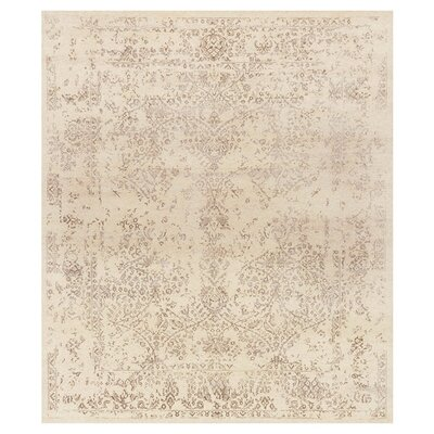 Pearl Hand-Knotted Ivory/Taupe Area Rug Rug Size: Rectangle 56 x 86