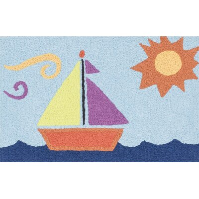 Angelou Light Blue/Orange Area Rug Rug Size: 19 x 29
