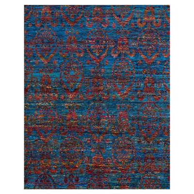 Giselle Hand-Knotted Blue/Red Area Rug Rug Size: 56 x 86
