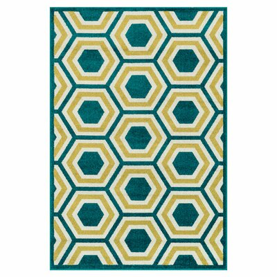 Catalina Green/Yellow Indoor/Outdoor Area Rug Rug Size: 92 x 121